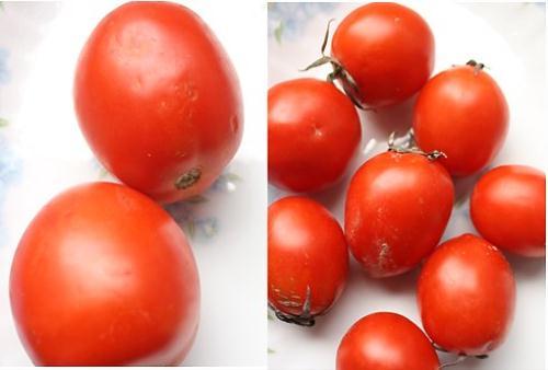 Phân biệt cà chua có vẻ khó khăn, song nếu để ý bạn sẽ thấy cà chua Trung Quốc (trái) bao giờ quả cũng to, bóng đều, không cuống vì sử dụng chất bảo quản rất lâu. Cà chua ta thường có cuống, tươi hơn. Trong ảnh (phải) là cà chua Vĩnh Phúc quả nhọn, nhỏ hơn hẳn.