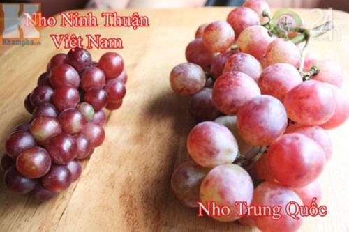 Nho Trung Quốc to tròn, có lớp vỏ màu nhạt, ăn vị chua, mềm, bở và nhiều hạt. Nho Mỹ vỏ sậm hơn, thuôn dài, vị ngọt, giòn, rất ít hoặc không có hạt. Nho Phan Rang (Ninh Thuận) quả nhỏ, chùm ngắn, màu xanh tươi.