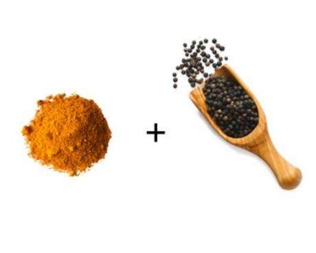 Nghệ + tiêu đen: Nghê có chất chống oxy hóa curcumin nhưng chất này chuyển hóa nhanh chóng trước khi được cơ thể hấp thụ hoàn toàn. Chất piperin trong tiêu đen sẽ cải thiện khả năng sử dụng của curcumin gấp 1.000 lần.