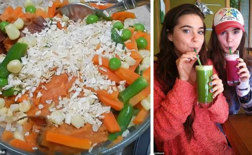 Bữa ăn nhiều rau củ, ít chất béo và nước ép của 2 chị em. Ảnh:Mail Online.